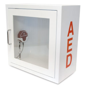 alarmed aed storage cabinet