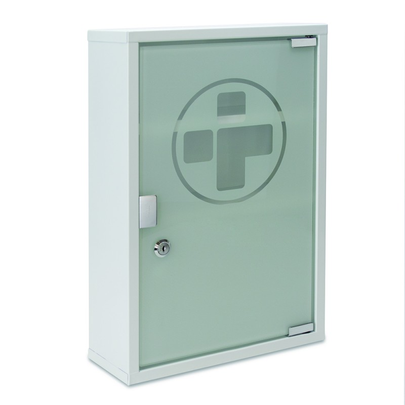 ... Bags, Boxes & Cabinets / Large Metal Wall Cabinet with Glass Door